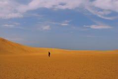 Mann in der Wüste lizenzfreie stockbilder