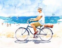 Mann, der Weinlese-Fahrrad auf die Strand-Aquarell-Sommer-Illustration handgemalt fährt Stockfotografie