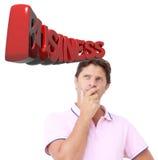 Mann, der zum Geschäft denkt Lizenzfreie Stockfotografie