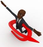 Mann des Kahlkopfs 3d springen in einer Luft und in Pfeil um ihn Konzept Lizenzfreies Stockbild