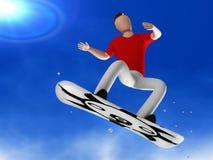 Mann des Snowboarder 3D Stockfoto