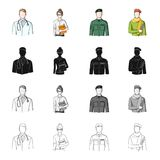 Mann, Doktor, Bademantel und andere Netzikone in der Karikaturart Berufung, Beruf, Hobby, Ikonen in der Satzsammlung lizenzfreie abbildung