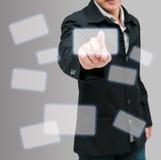 Mann drücken von Hand ein Lizenzfreies Stockbild