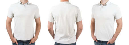 Mann drei im weißen Polot-shirt Lizenzfreie Stockfotografie