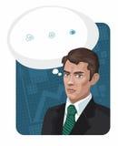 Mann in einem Anzug auf einem blauen Hintergrund Lizenzfreie Stockfotografie