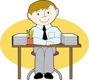Mann an einem ordentlichen Schreibtisch Lizenzfreie Stockbilder