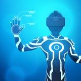 Mann in einem Sturzhelm der virtuellen Realität Stockbild