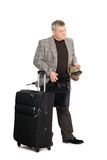 Mann in einer checkered Klage und in einem Gepäck Stockfotos
