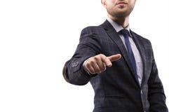 Mann in einer Klage spezifiziert einen Finger stockbilder