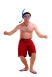 Mann in einer Schablone für die Unterwasserschwimmen Lizenzfreies Stockbild