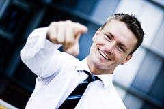 Mann in einer Unternehmenskleidung zeigend auf Sie Stockfotos