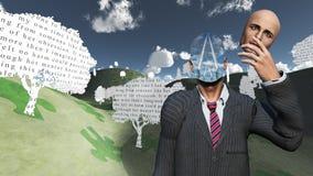 Mann entfernt das Gesicht, das Schichten des Himmels zeigt Stockfotos