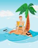 Mann entspannen sich Zeit in der Insel Geschäftsmann auf einsamer Insel mit Palme Lizenzfreie Stockbilder