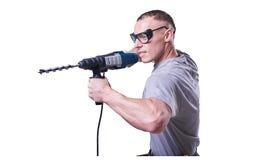 Mann, Erbauer, Gläser, wenn ein Bohrgerät in der Hand auf weißem Hintergrund lokalisiert ist stockfotografie
