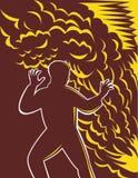 Mann erschrockener brennender Feuerrauch Lizenzfreies Stockfoto