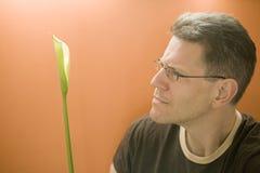 Mann erwägt eine Calla-Lilie Stockbilder