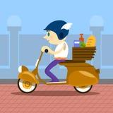 Mann-Fahrmotorrad-Roller-Zustelldienst Retro- Lizenzfreie Stockfotografie