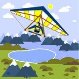 Mann fliegt einen Hängegleiter Art flach Auch im corel abgehobenen Betrag vektor abbildung