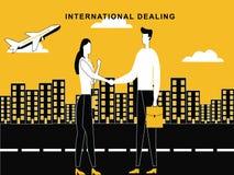 Mann-Frau, die auf internationaler Ebene Konzept behandelt stock abbildung