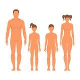 Mann, Frau, Junge und Mädchen Menschliches Vorderseite Schattenbild Getrennt Stockbild