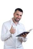 Mann gefallen mit seiner Arbeit Stockfotos