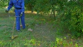 Mann geht mit Rasenmäher und mäht Gras am sonnigen Sommertag stock footage