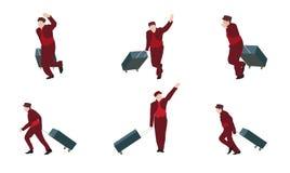 Mann geht zum Koffer Auch im corel abgehobenen Betrag Lizenzfreies Stockfoto
