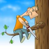 Mann gesägter Zweig stock abbildung