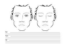 Mann-Gesichtsdiagramm Maskenbildner Blank schablone stockfoto