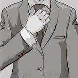 Mann in gezeichneter Illustration der Bindung Hand Stockfoto