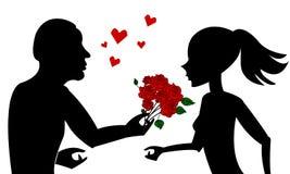 Mann gibt Blumen zum Frauenschattenbild lizenzfreie stockfotos