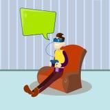 Mann-Griff-Konsolen-Fernsteuerungsabnutzungs-Digital-Gläser in der Lehnsessel-Spiel-Computer-Videospiel-Chat-Blase Lizenzfreie Stockfotografie