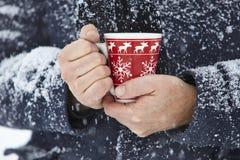 Mann Hände Schnee spróchniałości Tasse gemustert Zdjęcia Royalty Free