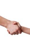 Mann hält die Hand eines Kindes an Lizenzfreie Stockfotos