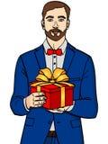 Mann hält große Geschenkbox Vektor in der Retro- komischen Pop-Arten-Art Ein Kerl mit Weihnachten oder Geburtstagsgeschenk Gegens vektor abbildung