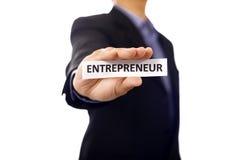 Mann halten Papier mit Unternehmer Text Stockfoto
