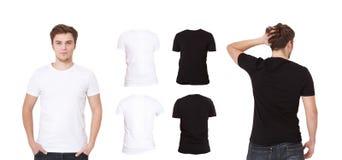 mann Hemden eingestellt Schwarzweiss-Hemd Vorderes und hinteres Ansicht T-Shirt lokalisiert Verspotten Sie oben, kopieren Sie Rau Stockbild