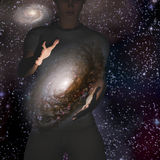 Mann hält Galaxie Lizenzfreies Stockfoto