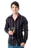 Mann-Holding Champagne Stockfoto