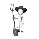 Mann-Holding-Gabel des Landwirt-3D lizenzfreie stockfotografie
