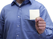 Mann-Holding-Post-It Lizenzfreies Stockbild