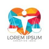 Mann-Holding-Skalen von Gerechtigkeit Logo Gesetz und Rechtsanwalt Logo Design stock abbildung