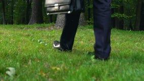 Mann im Anzug, der Aktenkoffer auf dem Gras weg geht, Freiheit niederlegt stock footage