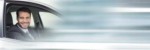 Mann im Auto mit Übergangseffekt Lizenzfreies Stockfoto