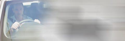 Mann im Auto mit Übergangseffekt Stockfotos