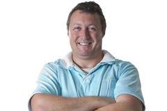 Mann im blauen Polohemd Lizenzfreies Stockfoto