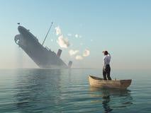 Mann im Boot, das auf Schiffswrack schaut Stockfoto