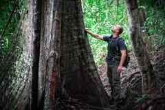 Mann im Borneo-Dschungel stockfotos