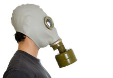 Mann im Gasmaskeprofil Lizenzfreies Stockfoto