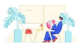 Mann im Gesellschaftsanzug, der im Café mit Menü in den Händen machen Auftrag sitzt Entspannungsmännliche rolle oder Geschäf stock abbildung